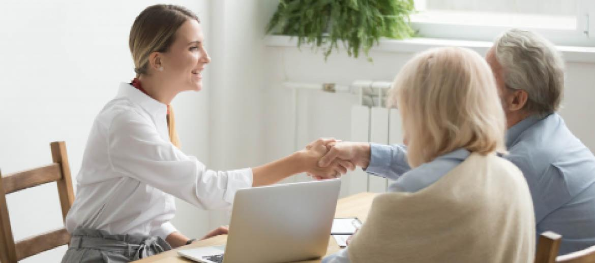 Older couple receiving financial advice