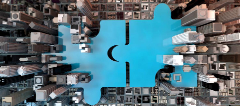 Puzzle piece in buildings