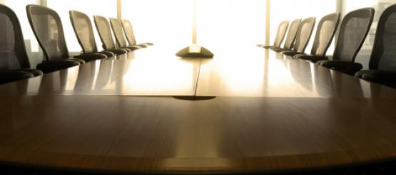 Empty Table in Board Room