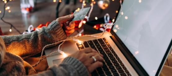 Woman buying Christmas presents online