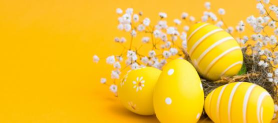 Easter Eggs on a yellow background