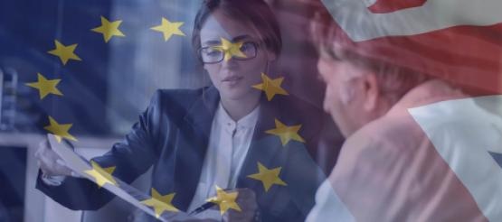 Clients talking with EU flag