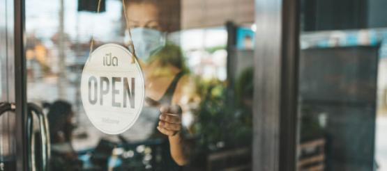 Restaurant open for business sign