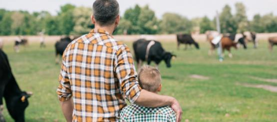 Father and Son on farmland
