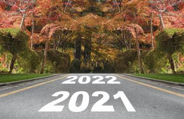 Autumn Road with Year 2021 Year 2022 written
