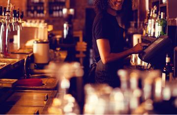 Serving drinks in Pub