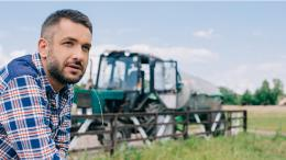 Farming in field with tractor